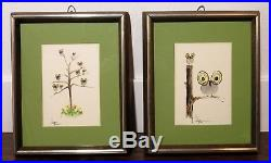 VTG PAIR of OWL WATERCOLOR PAINTINGS Signed Wall Art MID CENTURY Retro Kitsch