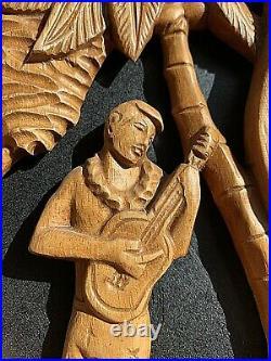VTG Pair Wood Carved Hawaii Ukelele Man Woman Wall Decor Lei Palms Hula Tiki 23