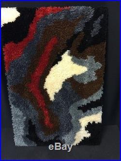 VTG RETRO MID CENTURY 35 X 24 LATCH HOOK RUG WALL Art