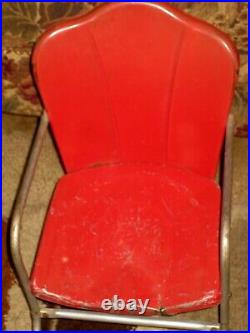 VTG/Retro Childs Red Metal Table & Shell Back Chair Set 1950s Lawn Garden Home