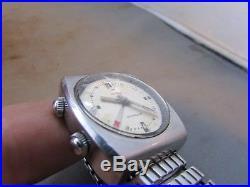 VTG Retro Men's Longines Wittnauer Watch Alarm Date Swiss Works Mid Century