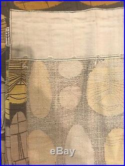 Very Large Vintage Mid Century ATOMIC BARK CLOTH Bark Cloth Panel Brown Retro