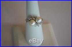 Vintage 14K White Gold Pearl Diamond Toi Et Moi By Pass Ring Retro Mid Century