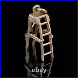 Vintage 14k Yellow Gold Articulated Folding Ladder Charm Retro Mid Century Gift