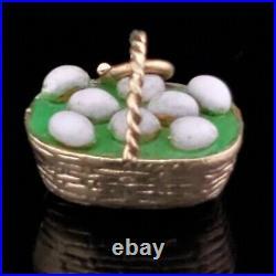 Vintage 14k Yellow Gold Enamel Charm Egg Basket Retro Mid Century Green Estate