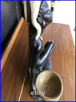 Vintage 1950s Era Chalkware Plaster Lady Woman Retro Tiki Lamp