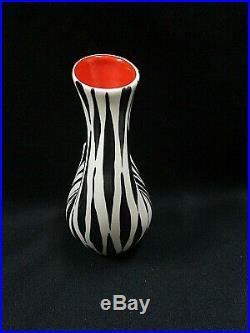 Vintage 1950s Retro BESWICK Zebra Zebretta Pattern Vase 1371 Mid Century Red