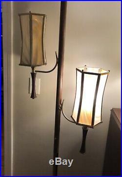 Vintage 1960's 70's Mid Century Modern Tension Pole Lamp Hollywood Regency Retro