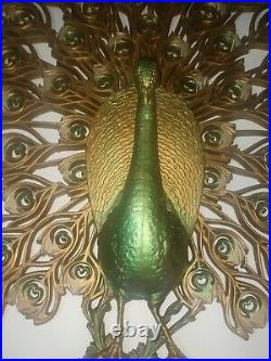 Vintage 1960's Burwood PEACOCK Decorative Wall Hanging Large 34 X 30 Mid Century