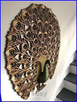 Vintage 1960's Burwood PEACOCK Decorative Wall Hanging Large 34 X 30 Mid Century