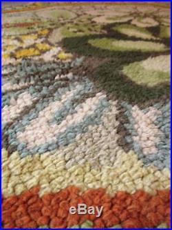 Vintage 1960's Floral Polygon Shaped Rug Retro Mid-Century Scandi Home MCM