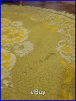 Vintage 1960's Round Yellow Reversible Wool Rug Mid-Century Retro