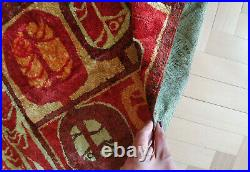Vintage 1960's retro wall tapestry rug carpet, Mid Century design, red