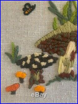 Vintage 1970's Framed Handmade Needlepoint Art Frog, Bee with Mushrooms