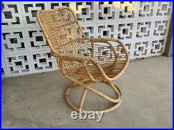 Vintage 1970s MIDCENTURY Boho BAMBOO and CANE ROCKER CHAIR