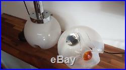 Vintage 1970s Mazzega Murano Glass Pendant Lights Mid Century Milk Glass Retro