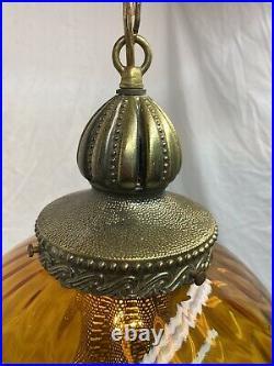 Vintage 1970s Swag Lamp Amber Globe Hanging Mid Century Modern Retro
