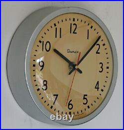 Vintage 26cm Simplex Wall Clock Metal Retro Industrial Factory Mid Century