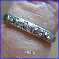 Vintage 5 Diamond Platinum Wedding Band Retro Mid Century Estate Bridal SZ. 4
