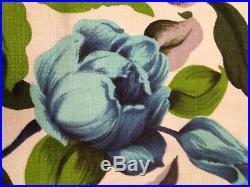 Vintage 50's Retro Mid Century Bark Cloth Curtains Roses 80 D x 88 W