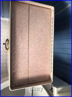 Vintage 50s Mid Century Pink Metal Bathroom Hamper Cabinet Floral Lucite Detecto