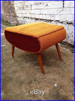 Vintage 60's Atomic Orange Footstool Sewing Box Sputnik Mid Century MCM Retro