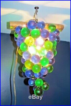 Vintage 60's Large Lucite Acrylic Grape Cluster Retro Hanging Swag Lamp Light
