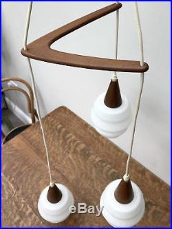 Vintage 60s DANISH Ceiling Pendant Light TEAK Retro Mid Century Chandelier Lamp
