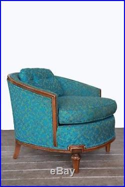 Vintage 60s Mid Century Modern Blue Atomic Retro Barrel bucket blue chair