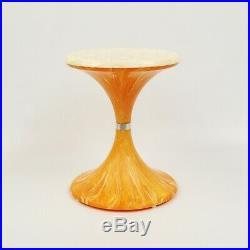 Vintage 60s Mid Century Molded Plastic Tulip Orange White Retro Side End Table