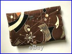 Vintage ATOMIC BOOMERANG Fabric BARK CLOTH Textile MID CENTURY Brown MCM Retro