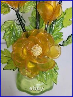 Vintage Acrylic Lucite Wire Flowers Resin Sculpture Mid Century Mod Kitsch Decor