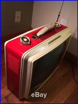 Vintage Admiral 19 Portable TV WORKS! Red RARE MCM Retro Mid Century Gold Round