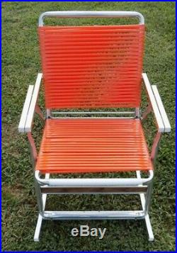 Vintage Aluminum Vinyl Webbed Folding Rocking Lawn Chair Mid Century Orange MCM