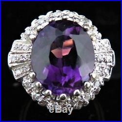 Vintage Amethyst Diamond 14k White Yellow Gold Ring Retro Mid Century Estate