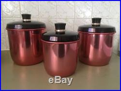 Vintage Anodised Pink Kitchen Canisters, Retro Canisters 60s 70s Mid Century