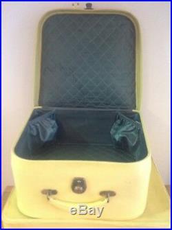 Vintage Antler Luggage Yellow 1950s C/w Hangers Matching Retro Mid Century Prop