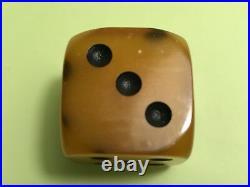 Vintage Art Deco Amber Bakelite Dice 26 Grams