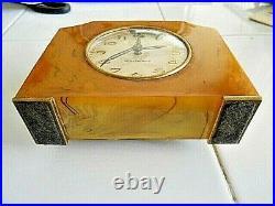 Vintage Art Deco Catalin 1930's Seth Thomas alarm clock marbled stunning working