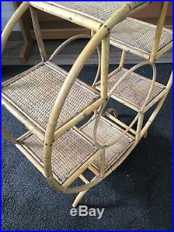 Vintage Art Deco Plant Stand Bamboo Wicker Retro Mid Century 4 Tier