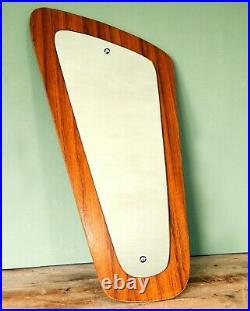 Vintage Asymmetrical Mid Century Retro Wall Mirror Teak Wood Effect
