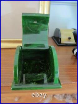 Vintage Bakelite Green Ring Box Marbleized Green