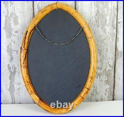 Vintage Bamboo Cane Wicker Oval Shape Mirror Mid Century Rattan Boho Retro Tiki
