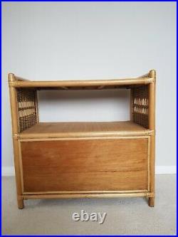 Vintage Bamboo Rattan Wicker Bookcase Cabinet Tv Unit Mid-century Boho Scandi