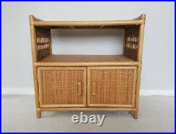 Vintage Bamboo Rattan Wicker Bookcase Cabinet Tv Unit Midcentury Boho Scandi