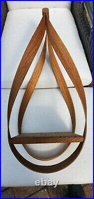Vintage Bent Wood Tear Drop Hanging Shelf Plant Holder Mid Century Modern 25
