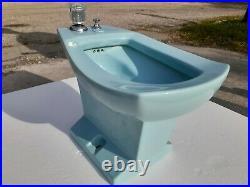 Vintage Blue Bidet Toilet Eljer Triangle Mid Century Modern Classic Color 024