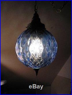 Vintage Blue Glass Retro Mid Century Modern Hanging Swag