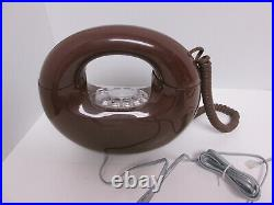 Vintage Brown Rotary Sculptura Round Circle Donut Phone Retro Decor Mid Century