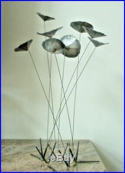 Vintage Brutalist Metal Flower Kinetic Sculpture Mid Century Modern Retro